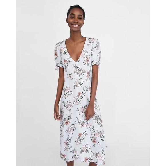 6b605e26 Zara Dresses | Woman Floral Print Linen Dress Nwt | Poshmark